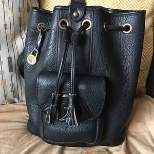 Vtg Dooney Bourke AWL All Black Sling Backpack
